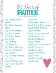 30 days daily gratitude list printable living