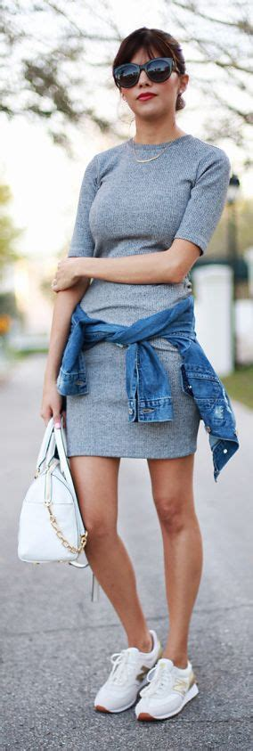 How to combine sneakers with dresses at school or college outfits - myschooloutfits.com