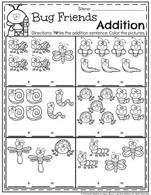 worksheets  kindergarten math addition schematic