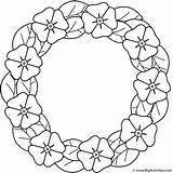 Remembrance Coloring Poppy Wreath Poppies Printable Print Flower Sheets Wreaths Sheet Activity Bigactivities sketch template