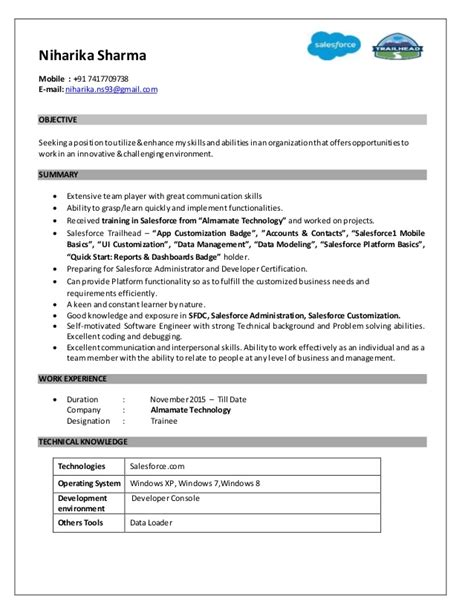 salesforce resume niharika sharma