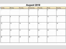 August 2018 Calendar PDF monthly printable calendar