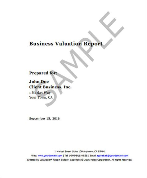 valuation report templates   word  apple