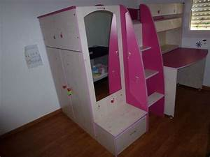 Lit Combiné Bureau Fille : armoires enfants occasion en gironde 33 annonces achat et vente de armoires enfants ~ Melissatoandfro.com Idées de Décoration