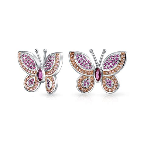 cz pave butterfly stud earrings rhodium plated