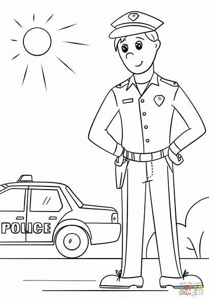 Police Coloring Officer Pages Colouring Printable Drawing