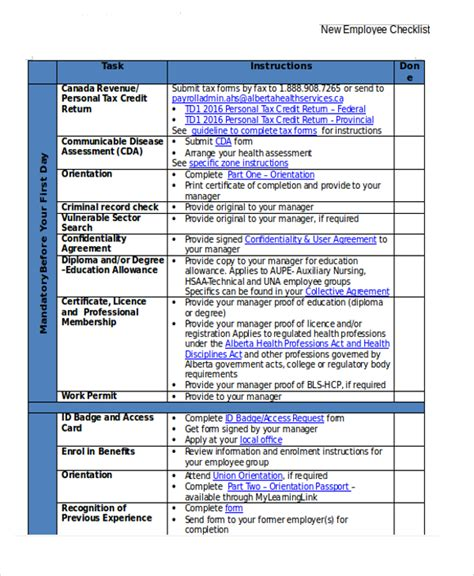 new hire checklist template 16 new employee checklist templates sle templates
