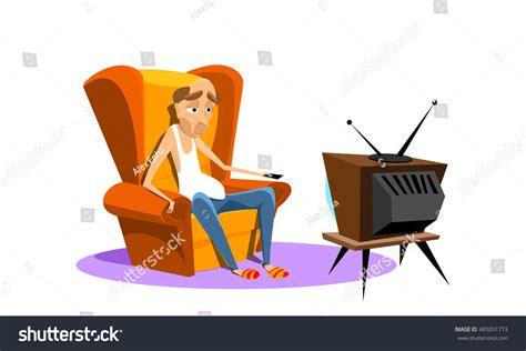 Man Sitting On Armchair Watching Tv Stock Vector 485051773