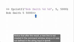 Tutorial Showing The Use Of Fprintf Using Three Examples In Matlab