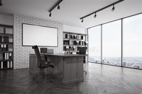 office with view loft ceo office with city view corner stock illustration Ceo
