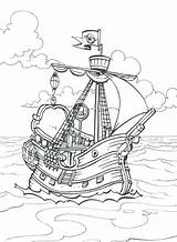 Pirate Ship Coloring Pages Ships Sunken Drawing Captain Printable Sailing Hook Colouring Treasure Icolor Template Sketch Sheets Getcolorings Bucky Getdrawings sketch template