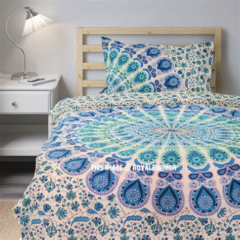 boho duvet covers blue white peacock mandala boho duvet cover set with one