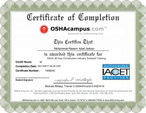 Osha 10 Card Template by Osha 10 Certificate Template The Best And Professional