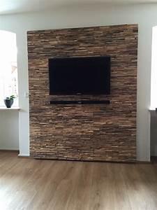 Holz Wandverkleidung Teak Grau Braun BS Holzdesign