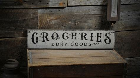 Groceries Dry Goods Sign Primitive Rustic Hand Made