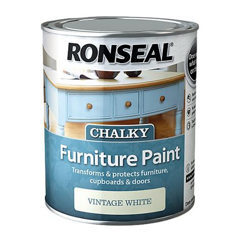 ronseal chalky furniture paint vintage white ml
