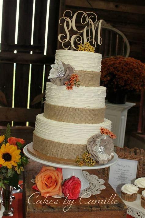 burlap wedding cake textured buttercream monogram wooden