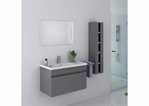 beau meuble de salle de bain gris taupe suspendu meuble With meuble salle de bain eco