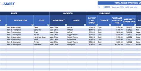 asset management spreadsheet template  management