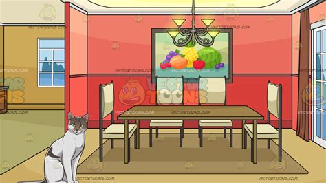 Dining Room Clipart Images by A Cat With Piercing With An Empty Dining Room