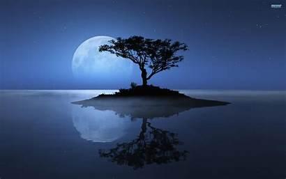 Moon Desktop Tree River Wallpapers Pixelstalk