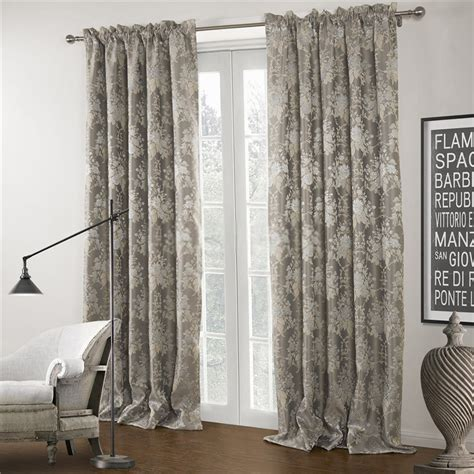 luxurious jacquard floral grey patterned curtains