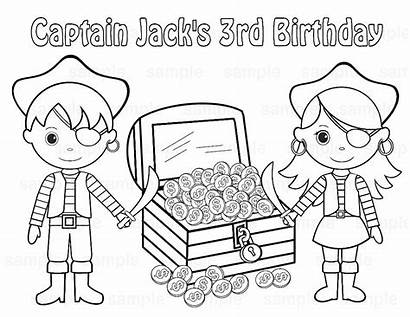 Pirate Coloring Treasure Chest Pages Printable Birthday