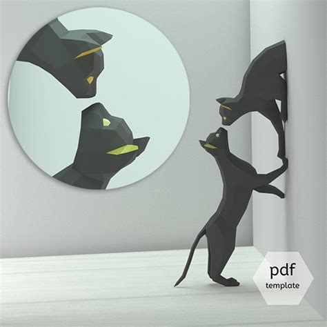downloadable diy cat papercraft project  oxygami
