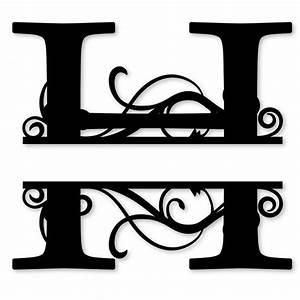 monogram letter die cut vinyl decal pv1320 snc split With decal lettering styles