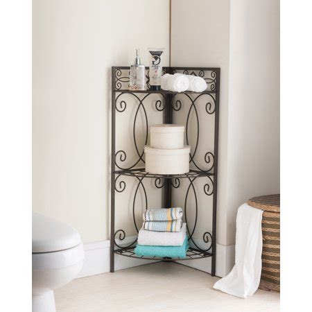 Corner Etagere Bathroom by Sileas Pewter Metal Transitional Etagere 3 Tier Shelf Free