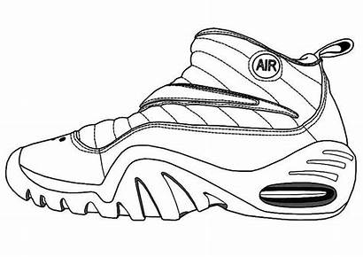 Coloring Nike Shoe Shoes Printable Running Ecolorings