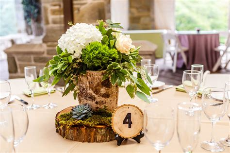 Birch Wood Centerpieces With Hydrangeas And Greenery And