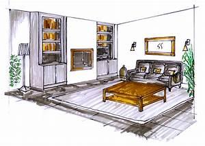dessiner interieur maison perspective de dessin freehand With croquis d une maison 12 dessin de jardin en perspective le jardin de bastian