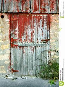 Old barn door stock photo image of shabby broken rustic for Barn door red paint