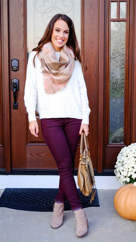 Fall Outfit Plaid Scarf Burgundy Pants Mrscasual