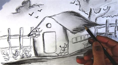 draw  scenery pencil drawing youtube
