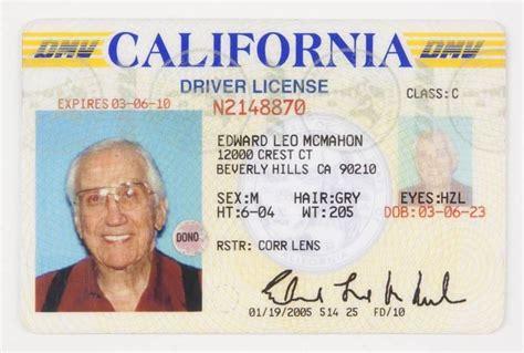 Ed Mcmahon 2005 California Driver's License Current