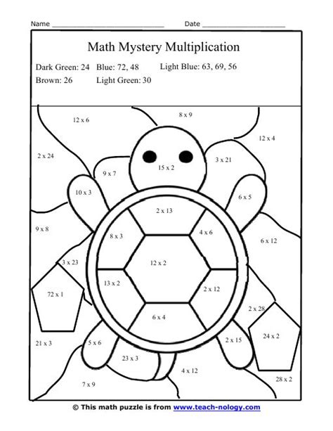 Multiplication Facts Worksheets Color  Silly Turtle Multiplication Puzzle  Rainbow Projects