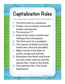 Capitalization Rules Poster - Freeology