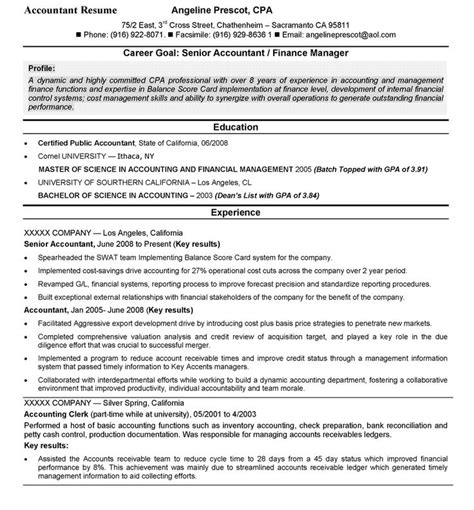 Exles Of Objectives For Resumes In Accounting by Accounting Sle Accountant Resume Top 10 Resume