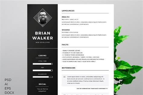 Free Photoshop Resume Templates by Free Resume Template Creativebooster
