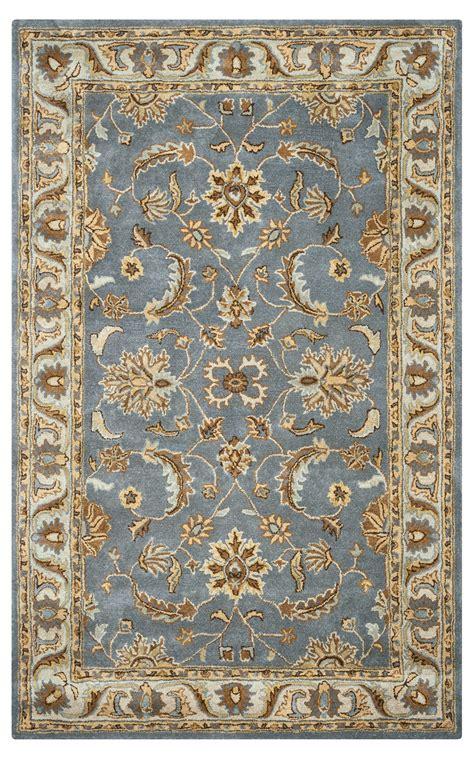 Wool Rugs by Volare Floral Trellis Pattern Wool Area Rug In Blue