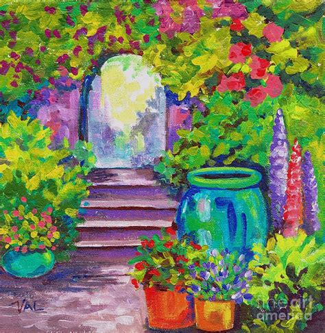Secret Garden Painting By Val Stokes