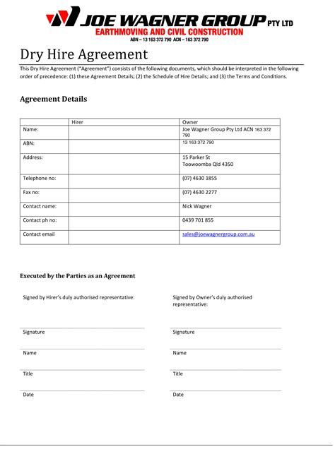 hire agreement contract forms   ms word
