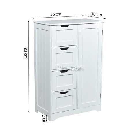 foxhunter white wooden  drawer bathroom storage cupboard