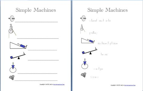 note taking worksheet work and simple machines answers simple machine packet about 30 pages homeschool den