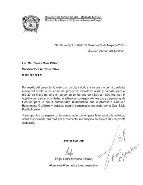 oficio de peticion del auditorio gestioen