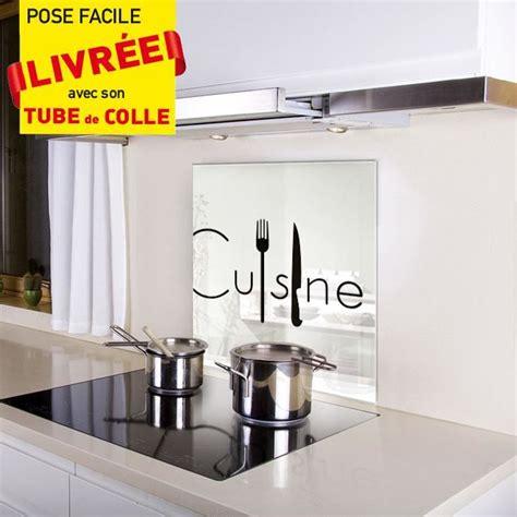 cuisine fond blanc kozeodeco crédence fond de hotte en verre 600x650mm décor