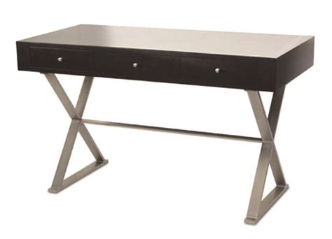 brushed nickel desk l f82 wengi console desk with 3 drawers and nickel legs