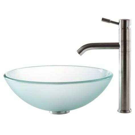 home depot kraus sink kraus vessel sink in frosted glass with aldo faucet in